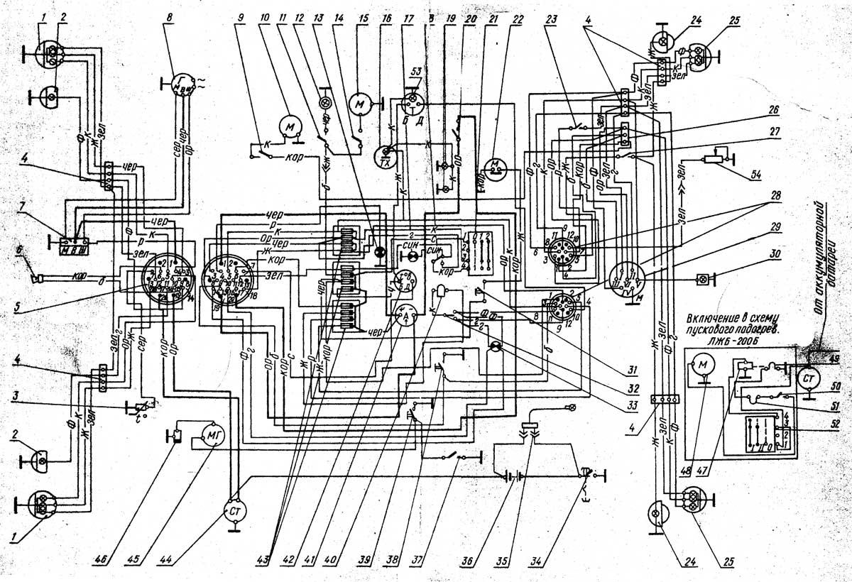 Мини трактор кмз 012 эксплуатируется при принципиальная электрическая схема Схема электрическая трактора т 40 мтз 80...