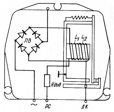 Электрическая схема реле блокировки РБ1
