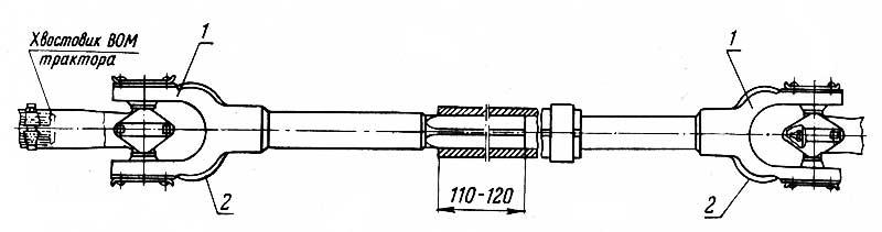 Схема установки карданной передачи от ВОМ трактора