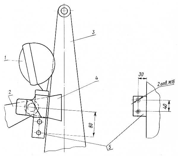 Схема установки передних фар с кронштейнами на панели копновоза