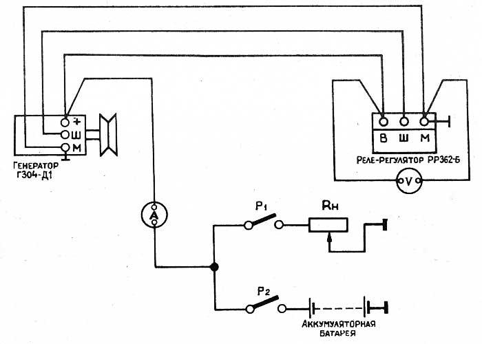 Схема проверки регулятора напряжения на тракторе (на стенде)
